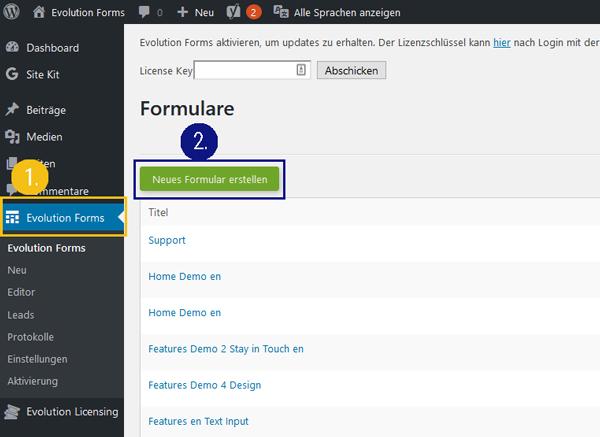 evolution forms-Kontaktformular Website einbauen