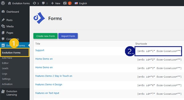 insert-contact-form-in-wordpress evolution forms