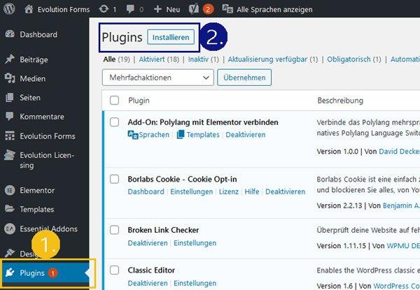 wordpress plugin manuell installieren evolution forms