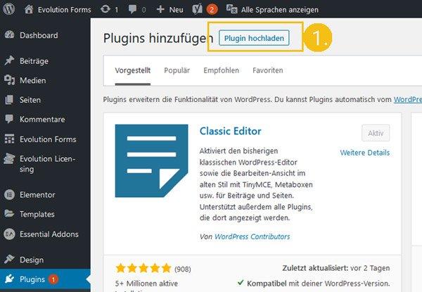 evolution forms wordpress plugin manuell installieren