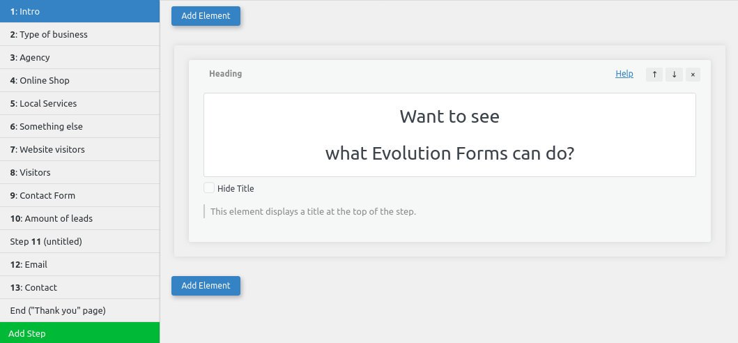 Evolution Forms Form Editor
