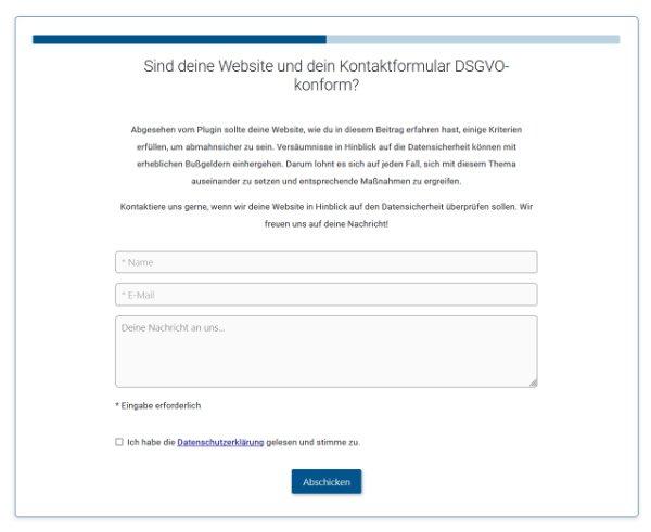 Kontaktformular Website DSGVO - Ist dein Kontaktformular auf der Website DSGVO konform? Erfahre mehr darüber...